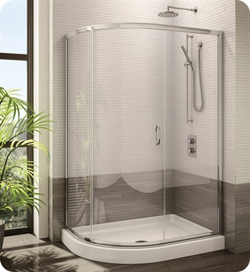 Fleurco FA483-25-40 Signature Capri Half Round Frameless Curved Glass Sliding Shower Door With Hardware Finish: Brushed Nickel And Glass Type: Clear Glass