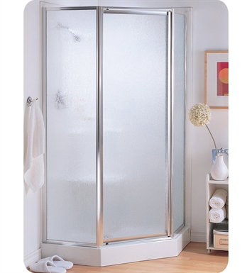 "Fleurco FNAS38-11-70  Signature Montreal 38"" Neo Angle Pivot Shower Door With Hardware Finish: Bright Chrome And Glass Type: Raindrop Glass"