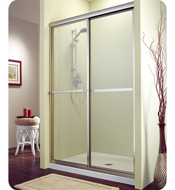 "Fleurco FMS1448-25-70  Signature Catalina 48"" Sliding Shower Enclosure With Hardware Finish: Brushed Nickel And Glass Type: Raindrop Glass"