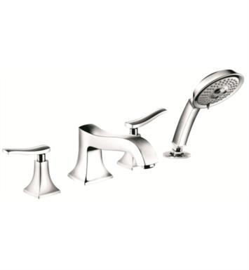 "Hansgrohe 31314821 Metris C 8"" Four Hole Widespread/Deck Mounted Roman Tub Set Trim with Handshower With Finish: Brushed Nickel"
