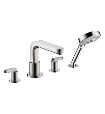 Hansgrohe 31448 Metris S 4 Hole Roman Tub Set Trim with Handshower and Lever Handles