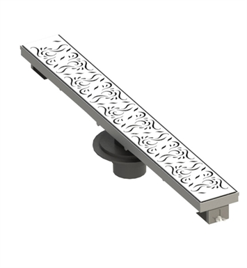"Rubinet 9FSD32 32"" Linear Shower Drain with Paisley Pattern"