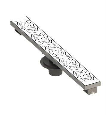 "Rubinet 9FSD42 48"" Linear Shower Drain with Paisley Pattern"