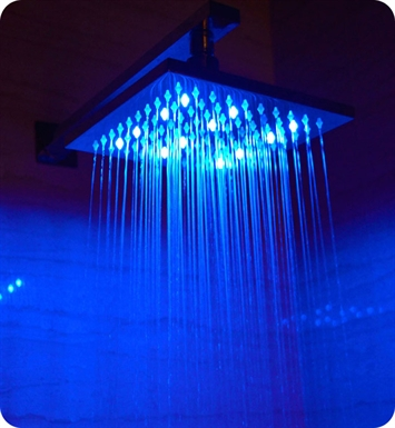 ALFI Brand LED5001 8 inch Square Multi Color LED Rain Shower Head