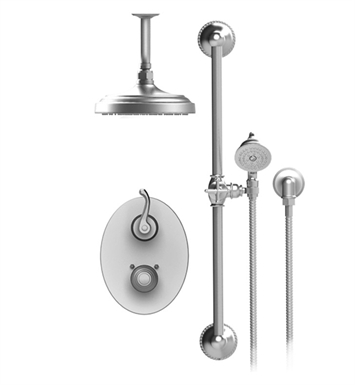"Rubinet 22ETLCHCH Etruscan Temperature Control Shower with Two Way Diverter & Shut-Off, Handheld Shower, Bar, Integral Supply & Ceiling  Mount 8"" Shower Head & Arm With Finish: Main Finish: Chrome 