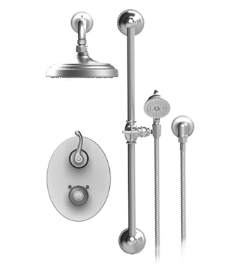 Rubinet 20ETLSNSN Etruscan Temperature Control Shower with Two Way Diverter & Shut-Off, Handheld Shower, Bar, Integral Supply & Aquatron 3 Function Shower Head & Arm With Finish: Main Finish: Satin Nickel | Accent Finish: Satin Nickel