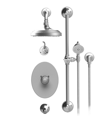 "Rubinet 24ETLGDGD Etruscan Temperature Control Tub & Shower with Three Way Diverter & Shut-Off, Handheld Shower, Bar, Integral Supply & Wall Mount Tub Filler Spout and Wall Mount 8"" Shower Head & Arm With Finish: Main Finish: Gold 