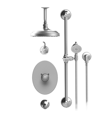 "Rubinet 25ETL Etruscan Temperature Control Tub & Shower with Three Way Diverter & Shut-Off, Handheld Shower, Bar, Integral Supply & Wall Mount Tub Filler Spout and Ceiling Mount 8"" Shower Head & Arm"