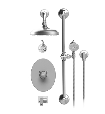 "Rubinet 27ETL Etruscan Temperature Control Tub & Shower with Three Way Diverter & Shut-Off, Handheld Shower, Bar, Integral Supply, Wall Mount Bidet/Foot Rinse and Wall Mount 8"" Shower Head & Arm"
