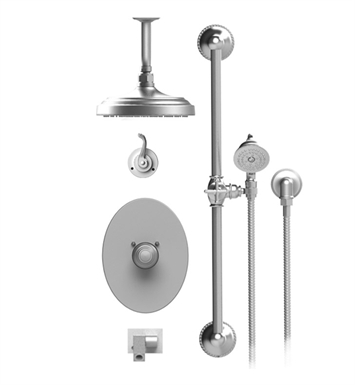 "Rubinet 28ETLSNSN Etruscan Temperature Control Tub & Shower with Three Way Diverter & Shut-Off, Handheld Shower, Bar, Integral Supply, Wall Mount Bidet/Foot Rinse and Ceiling Mount 8"" Shower Head & Arm With Finish: Main Finish: Satin Nickel 