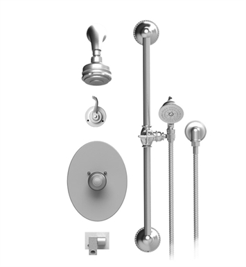 Rubinet 26ETLGDGD Etruscan Temperature Control Tub & Shower with Three Way Diverter & Shut-Off, Handheld Shower, Bar, Integral Supply, Wall Mount Bidet/Foot Rinse and Aquatron 3 Function Shower Head & Arm With Finish: Main Finish: Gold | Accent Finish: Gold