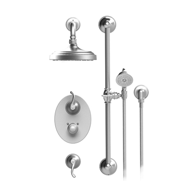 "Rubinet 41ETLSNGD Etruscan Temperature Control Shower with Wall Mount 8"" Shower Head, Bar, Integral Supply & Hand Held Shower With Finish: Main Finish: Satin Nickel 