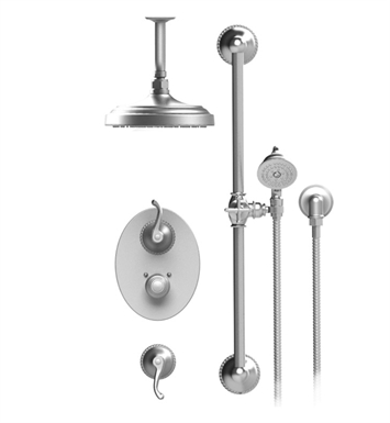 "Rubinet 42ETL Etruscan Temperature Control Shower with Ceiling Mount 8"" Shower Head, Bar, Integral Supply & Hand Held Shower"