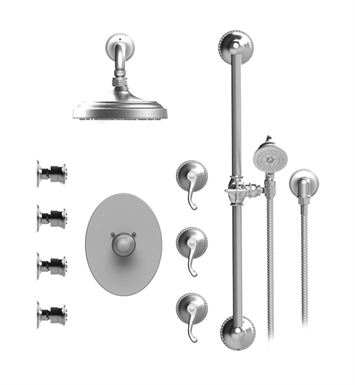 "Rubinet 46ETLPNPN Etruscan Temperature Control Shower with Wall Mount 8"" Shower Head, Bar, Integral Supply, Hand Held Shower & Four Body Sprays With Finish: Main Finish: Polished Nickel 