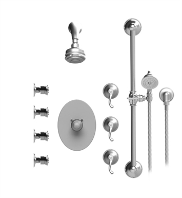 Rubinet 45ETLSNSN Etruscan Temperature Control Shower with Aquatron 3 Function  Shower Head, Bar, Integral Supply, Hand Held Shower & Four Body Sprays With Finish: Main Finish: Satin Nickel | Accent Finish: Satin Nickel
