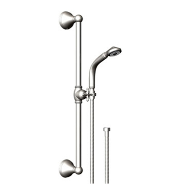 Rubinet 4GJS0SNGD Jasmin Adjustable Slide Bar & Hand Held Shower Assembly With Finish: Main Finish: Satin Nickel | Accent Finish: Gold