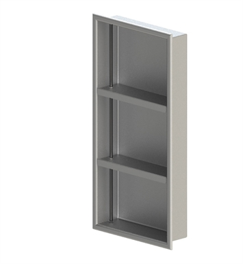 "Rubinet 9TWN4SNMR 12""x24"" Recessed Wall Niche with Two Adjustable Shelves (for vertical use) With Finish: Main Finish: Satin Nickel 