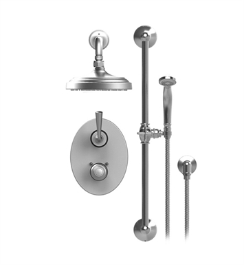 "Rubinet 21JSLCHCH Jasmin Temperature Control Shower with Two Way Diverter & Shut-Off, Handheld Shower, Bar, Integral Supply & Wall Mount 8"" Shower Head & Arm With Finish: Main Finish: Chrome 