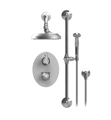 "Rubinet 21JSSGDGD Jasmin Temperature Control Shower with Two Way Diverter & Shut-Off, Handheld Shower, Bar, Integral Supply & Wall Mount 8"" Shower Head & Arm With Finish: Main Finish: Gold 