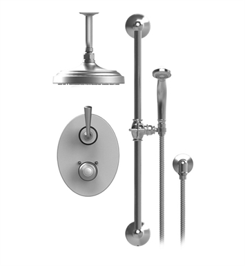 "Rubinet 22JSLGDGD Jasmin Temperature Control Shower with Two Way Diverter & Shut-Off, Handheld Shower, Bar, Integral Supply & Ceiling  Mount 8"" Shower Head & Arm With Finish: Main Finish: Gold 