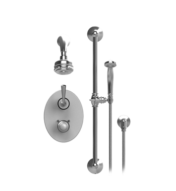 Rubinet 20JSL Jasmin Temperature Control Shower with Two Way Diverter & Shut-Off, Handheld Shower, Bar, Integral Supply & Wall Mount Aquatron 3 Function Shower Head & Arm