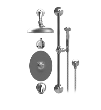 "Rubinet 24JSS Jasmin Temperature Control Tub & Shower with Three Way Diverter & Shut-Off, Handheld Shower, Bar, Integral Supply & Wall Mount Tub Filler Spout and Wall Mount 8"" Shower Head & Arm"