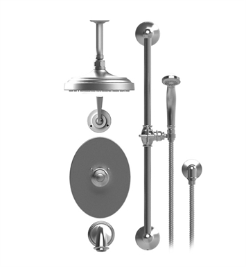 "Rubinet 25JSLGDGD Jasmin Temperature Control Tub & Shower with Three Way Diverter & Shut-Off, Handheld Shower, Bar, Integral Supply & Wall Mount Tub Filler Spout and Ceiling Mount 8"" Shower Head & Arm With Finish: Main Finish: Gold 