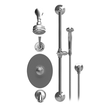 Rubinet 23JSLGDGD Jasmin Temperature Control Tub & Shower with Three Way Diverter & Shut-Off, Handheld Shower, Bar, Integral Supply & Wall Mount Tub Filler Spout and Aquatron 3 Shower Head & Arm With Finish: Main Finish: Gold | Accent Finish: Gold