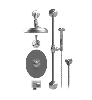 "Rubinet 27JSLGDGD Jasmin Temperature Control Tub & Shower with Three Way Diverter & Shut-Off, Handheld Shower, Bar, Integral Supply, Wall Mount Bidet/Foot Rinse and Wall Mount 8"" Shower Head & Arm With Finish: Main Finish: Gold 