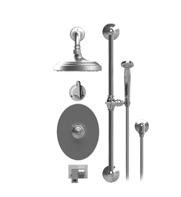 "Rubinet 27JSSSNSN Jasmin Temperature Control Tub & Shower with Three Way Diverter & Shut-Off, Handheld Shower, Bar, Integral Supply, Wall Mount Bidet/Foot Rinse and Wall Mount 8"" Shower Head & Arm With Finish: Main Finish: Satin Nickel 