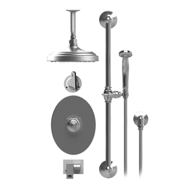 "Rubinet 28JSSGDGD Jasmin Temperature Control Tub & Shower with Three Way Diverter & Shut-Off, Handheld Shower, Bar, Integral Supply, Wall Mount Bidet/Foot Rinse and Ceiling Mount 8"" Shower Head & Arm With Finish: Main Finish: Gold 
