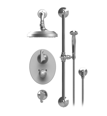 "Rubinet 41JSSSNGD Jasmin Temperature Control Shower with Wall Mount 8"" Shower Head, Bar, Integral Supply & Hand Held Shower With Finish: Main Finish: Satin Nickel 