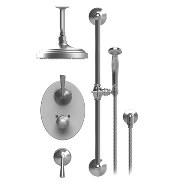"Rubinet 42JSLCHGD Jasmin Temperature Control Shower with Ceiling Mount 8"" Shower Head, Bar, Integral Supply & Hand Held Shower With Finish: Main Finish: Chrome 