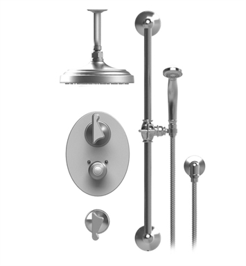 "Rubinet 42JSSGDGD Jasmin Temperature Control Shower with Ceiling Mount 8"" Shower Head, Bar, Integral Supply & Hand Held Shower With Finish: Main Finish: Gold 