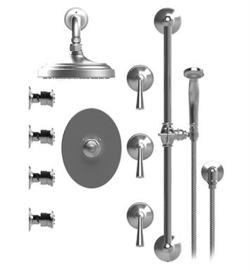 "Rubinet 46JSLCHGD Jasmin Temperature Control Shower with Wall Mount 8"" Shower Head, Bar, Integral Supply, Hand Held Shower & Four Body Sprays With Finish: Main Finish: Chrome 