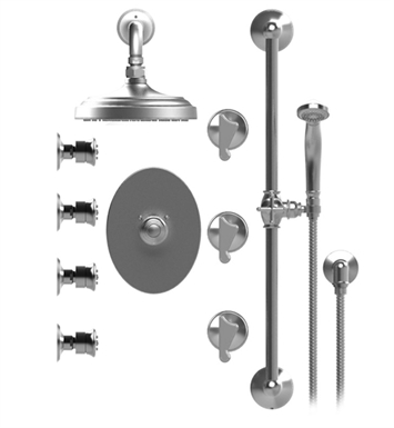 "Rubinet 46JSSSNGD Jasmin Temperature Control Shower with Wall Mount 8"" Shower Head, Bar, Integral Supply, Hand Held Shower & Four Body Sprays With Finish: Main Finish: Satin Nickel 