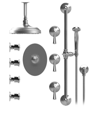 "Rubinet 47JSLGDGD Jasmin Temperature Control Shower with Ceiling Mount 8"" Shower Head, Bar, Integral Supply, Hand Held Shower & Four Body Sprays With Finish: Main Finish: Gold 