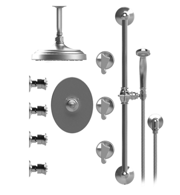 "Rubinet 47JSSGDGD Jasmin Temperature Control Shower with Ceiling Mount 8"" Shower Head, Bar, Integral Supply, Hand Held Shower & Four Body Sprays With Finish: Main Finish: Gold 
