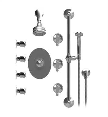 Rubinet 45JSSCHCH Jasmin Temperature Control Shower with Aquatron 3 Function Shower Head, Bar, Integral Supply, Hand Held Shower & Four Body Sprays With Finish: Main Finish: Chrome | Accent Finish: Chrome