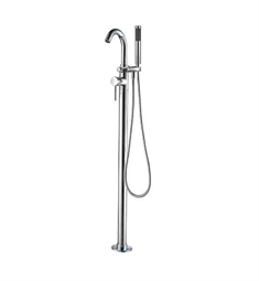 ALFI Brand AB2534 Brushed Nickel Single Lever Floor Mounted Tub Filler Mixer with Hand Held Shower Head