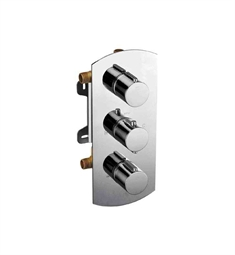 ALFI Brand AB4001 Brushed Nickel Concealed 3 Way Thermostatic Valve Shower Mixer Round Knobs