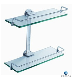 Fresca Ultimo 2 Tier Bathroom Glass Shelf in Chrome