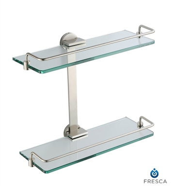 Fresca FAC0946BN Ultimo 2 Tier Bathroom Glass Shelf in Brushed Nickel