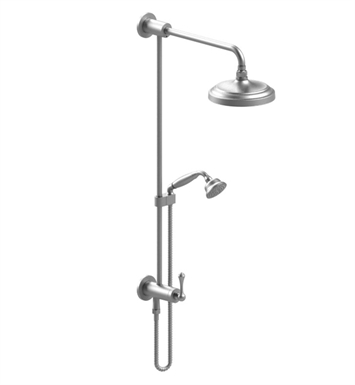 Rubinet 4UFM1SNSN Flemish Bar with Inlet at Diverter, Shower Head, Shower Arm, Adjustable Slide Bar and Hand Held Shower with Diverter With Finish: Main Finish: Satin Nickel | Accent Finish: Satin Nickel