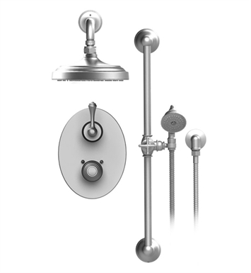 "Rubinet 21FMLSNSN Flemish Temperature Control Shower with Two Way Diverter & Shut-Off, Handheld Shower, Bar, Integral Supply & Wall Mount 8"" Shower Head & Arm With Finish: Main Finish: Satin Nickel 