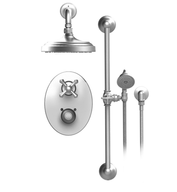 "Rubinet 21FMCCHCH Flemish Temperature Control Shower with Two Way Diverter & Shut-Off, Handheld Shower, Bar, Integral Supply & Wall Mount 8"" Shower Head & Arm With Finish: Main Finish: Chrome 