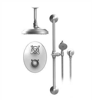 "Rubinet 22FMCGDGD Flemish Temperature Control Shower with Two Way Diverter & Shut-Off, Handheld Shower, Bar, Integral Supply & Ceiling Mount 8"" Shower Head & Arm With Finish: Main Finish: Gold 
