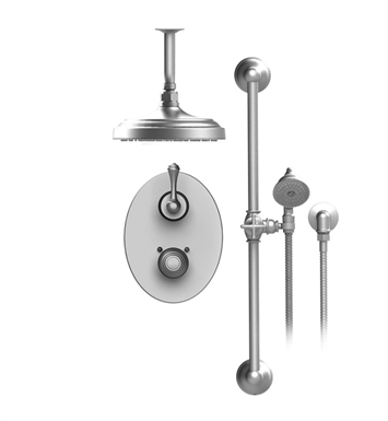 "Rubinet 22FML Flemish Temperature Control Shower with Two Way Diverter & Shut-Off, Handheld Shower, Bar, Integral Supply & Ceiling Mount 8"" Shower Head & Arm"