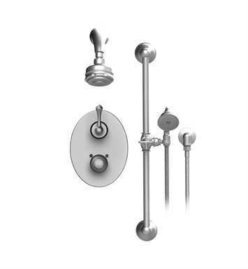 Rubinet 20FMLCHCH Flemish Temperature Control Shower with Two Way Diverter & Shut-Off, Handheld Shower, Bar, Integral Supply & Wall Mount Aquatron 3 Function Shower Head & Arm With Finish: Main Finish: Chrome | Accent Finish: Chrome
