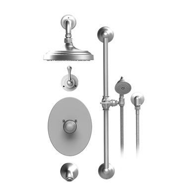 "Rubinet 24FMLCHCH Flemish Temperature Control Tub & Shower with Three Way Diverter & Shut-Off, Handheld Shower, Bar, Integral Supply & Wall Mount Tub Filler Spout and Wall Mount 8"" Shower Head & Arm With Finish: Main Finish: Chrome 